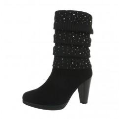 Črni škornji s peto 805